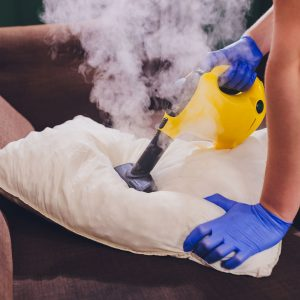 Using dry steam cleaner to sanitize pillow